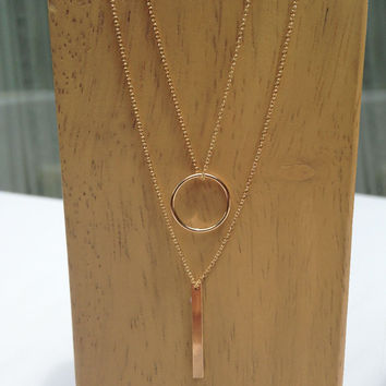 Circle + Bar Necklace