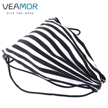 veamor bags for girls women handmade travel canvas shoes bags drawstring black white s  number 1