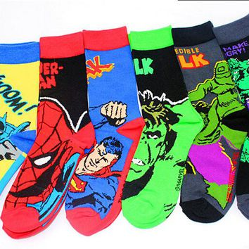 24pcs=12pair HOT The Avengers Flash superman batman The Hulk spider-man Film Fans men Classical Socks 24pcs/lot