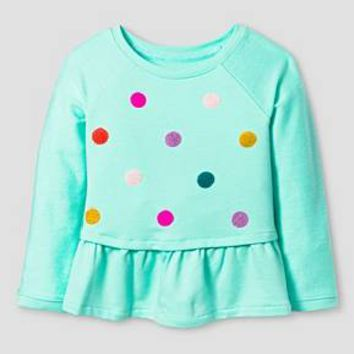 Toddler Girls' Long Sleeve Raglan Polka Dot Sweatshirt Green 4T - Cat & Jack ™ : Target