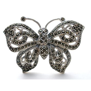 Butterfly Brooch Pin with Marcasites 925