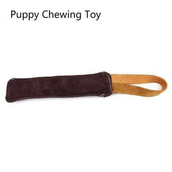 Single Handle Dog Training Tug Toys Genuine Leather Puppy Bite -resistant Dog Interactive Toy Teenth Cleaning Chewing Toys
