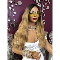 Blonde Ombre' Wavy Long Swiss Lace Front Wig 23"