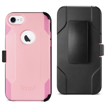 iPhone 8 3-In-1 Hybrid Heavy Duty Holster Combo Case  (Light Pink)