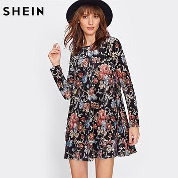 SHEIN Flower Print Swing Velvet Dress Fall Dresses 2017 Multicolor Long Sleeve Floral Dress Elegant Ladies Dresses