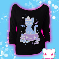Treat Surprise Kawaii Pumpkin Kitty 3/4 Sleeve Wideneck Shirt Pastel Goth Fairy Kei