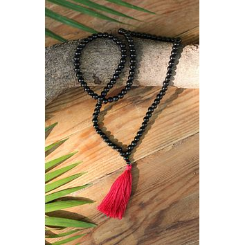 Black Onyx Buddhist Mala Beads Necklace with Red Tassels
