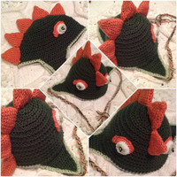 Dinosaur Lizard Mohawk Spikes Hat Earflaps Beanie Many sizes Child Teen Adult Hand Made Photo Prop