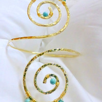 Grecian Swirl Upper Arm Cuff in Champagne and Turquoise , Arm Band,  Armlet - Great for Proms or Weddings