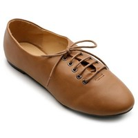 Ollio Women's Ballet Flat Shoe Lace Up Multi Color Oxford(8 B(M) US, Brown)