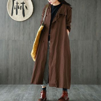 Trendy ZANZEA Fashion Casual Female Solid Lapel Button Long Sleeve Baggy Coat Retro Leisure Women Cotton Linen Long Maxi Jackets Kaftan AT_94_13