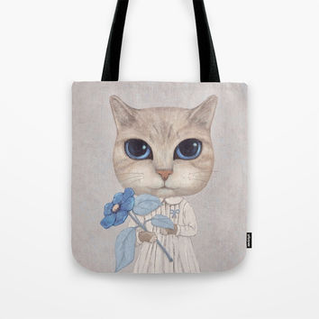 Cat with a blue flower Tote Bag by Oksana