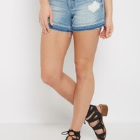 Light Blue Destroyed Raw Cut Jean Midi Short | Jean Shorts | rue21