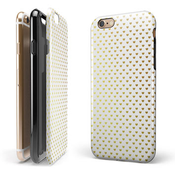 Tiny Golden Hearts Pattern iPhone 6/6s or 6/6s Plus 2-Piece Hybrid INK-Fuzed Case