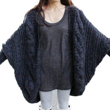 Women's Loose Thick Wool Sweater Batwing Sleeve Knit Cardigan Jacket Coats PY5 SM6