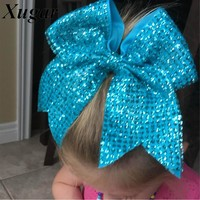 8'' Girls Handmade Fashion Sequin Cheer Bow Solid Bling Cheerleading Hair Bow With Elastic Boutique Hair Accessories