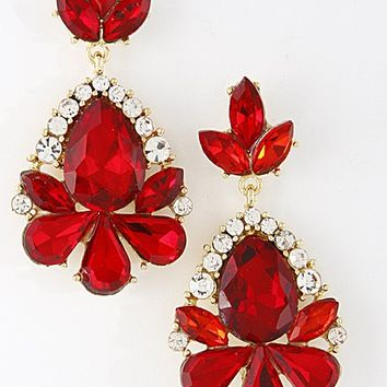 Various Teardrop Dangle Earrings- Red