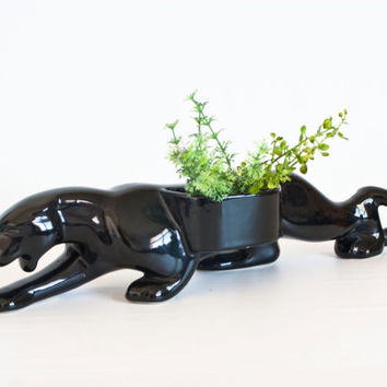 Vintage Haeger Black Panther Statue Figurine, Sleek Black Cat Planter, Kitsch 1950's Figurine, 15 inch