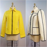 Fuchs Schmitt Yellow And White Light Quilted Reversible Jacket
