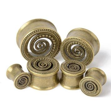 ac ICIKO2Q 2pcs 8-22mm Punk Boho Antique Brass Dotted Spiral Ear Plug Piercing Flesh Tunnel Double Flared Flesh Expander Gauge Body Jewelry