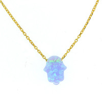 Fine Opal Hamsa featured on a Gold Chain Necklace