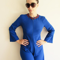 Vintage Dark Blue Polyester Super Wide Leg Fitted 60s 70s Disco Jumpsuit