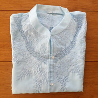 Blue Button Down Embroidered Blouse, Baby Blue, Retro Short Sleeve Top, Size S/M, Unused vintage, Powder Blue Linen Blouse