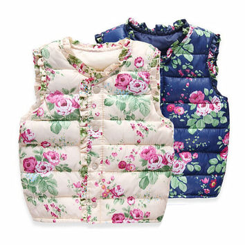 Top Quality 2016 Spring Autumn Winter Children's Quilted Vest with Floral Print Girls Vest Down Cotton Warm Waistcoat 3-7 Years