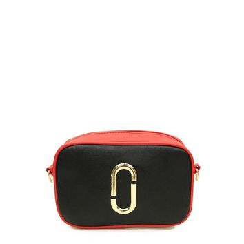 Two Tone Crossbody Bag With Striped Strap
