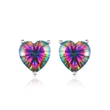 4.5ct Genuine Heart-shaped Rainbow Fire Mystic Topaz in real 925 Sterling Silver Stud Earrings