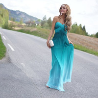 Custom Made Ombre Chiffon Sweetheart Bridesmaids Dress Prom Long Prom Dress Evening Dress