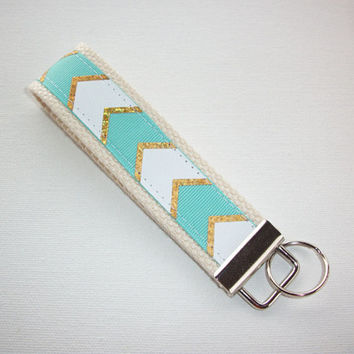 metallic gold chevron Key fob wristlet - chevron turquoise - metallic gold keychain - metallic wristlet