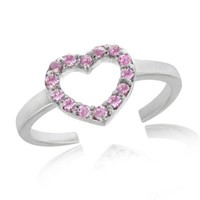 Sterling Silver Pink CZ Heart Toe Ring