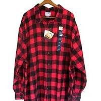 Red Flannel Shirt Men 4X 4XL Black Buffalo Plaid Check Cotton Blue Mountain
