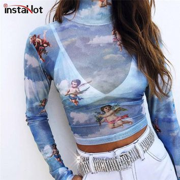InstaHot Mesh Cupid Angel Turtleneck T Shirts Tops Women Transparent 2018 See Through Blue Elastic Skinny Crop Tops Stretchy New