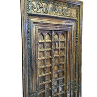 Vintage CHAKRA LOTUS Doors with Frame Architectural Indian Furniture