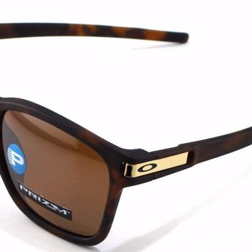 New Oakley Sunglasses Latch SQ Tortoise Prizm Polarized #9358-0855 Asian In Box