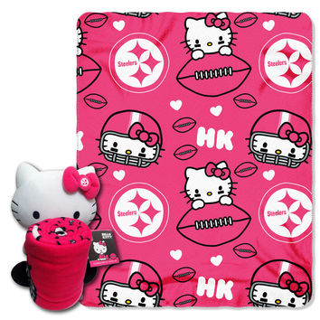 Steelers  40x50 Fleece Throw and Hello Kitty Character Pillow Set