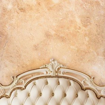Ivory Beige Tufted Headboard With Tan Brown Stone Marble Wall Baby Drop Vinyl Backdrop - 3x4 - LCBD6201 - LAST CALL