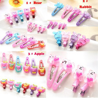 Candy Colors 8Pcs/2 Packs/Lot 3 Styles Cartoon Fashion Baby Headwear Random Colors Kids Clip Resin Barrettes For Girls Children Hair Clips BB Hairpin Child Accessories Bear Rabbit Apple = 1958342020
