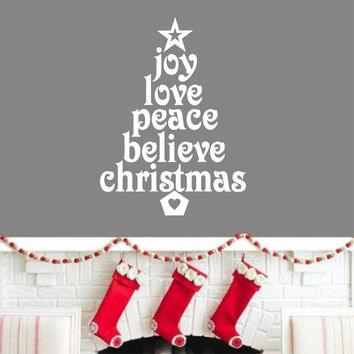 Joy Christmas Tree Words | Holiday Decal | Vinyl Wall Lettering