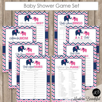 Elephant Baby Shower Game Pack, Pink and Navy Elephant Baby Shower Activity Set, Bingo, Baby Animal Names, Price is Right INSTANT pne