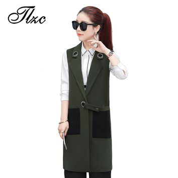 TLZC Women Long Jackets Sleeveless Fashion Vests Army Green / Black Size S-XXL Patchwork Design Elegant Lady Waistcoat