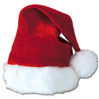 Velvet Santa Hat with Plush Trim - Hats & Headwear - Amols' Fiesta Party Supplies