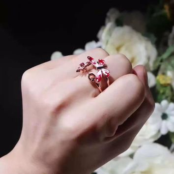 Gucci Flower Enamel Ruby 18K rose gold Noble High 2018 New Serpenti ring AAAA diamond drill hollowed out women