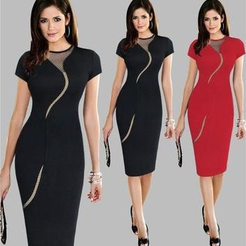 Womens Elegant Sexy Irregular Mesh Back Zipper Wear to Work Office Business Party Cocktail Stretch Bodycon Dress [9305631623]