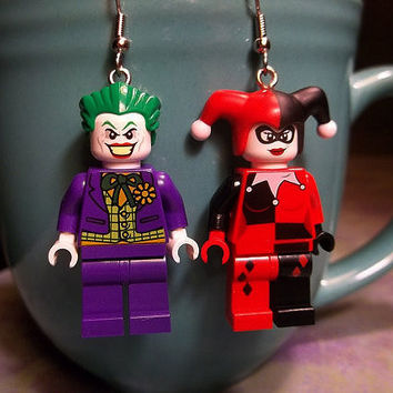 Joker and Harley Quinn lego Earrings