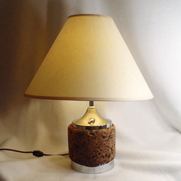 Table Lamp Laurel Cork and Chrome table or desk lamp