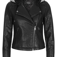 Topshop Maggie Faux Leather Moto Jacket with Faux Fur Lined Hood | Nordstrom