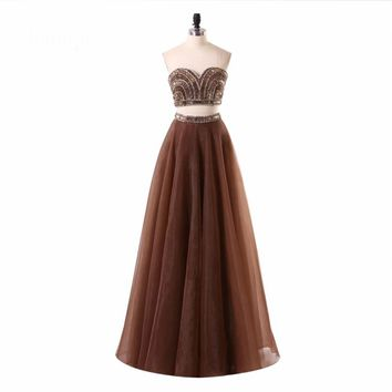 A line Beaded Special Occasion Formal Gowns Elegant Floor length Long Two Piece Dresses
